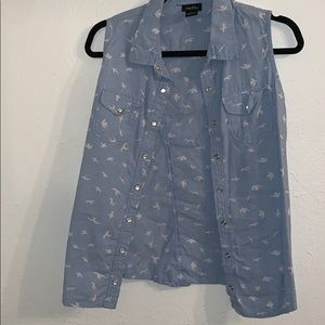 Rue 21 - Bird Patterned Button Down Tank - Size L